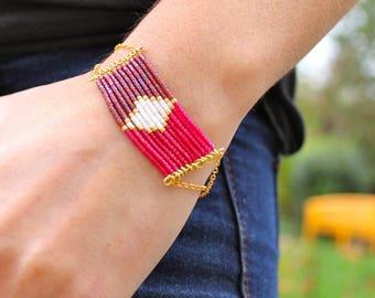 Bracelet Themis - graphic diamond Burgundy and pink Japanese glass beads