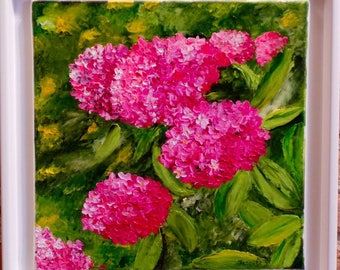 "Palette knife oil painting ""hydrangeas"""