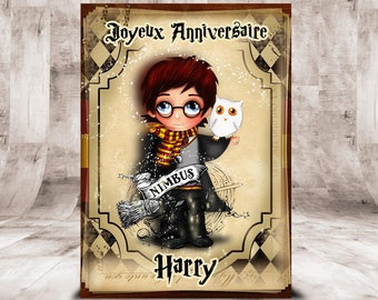 card birthday Harry Potter, customizable, size 10 x 14 cm