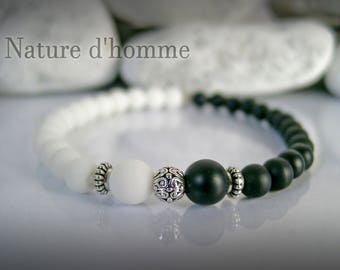 """Yin & Yang"" bracelet in matte black and white agate stone Ref: BN-248"
