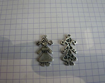 Antique silver girl charm