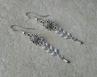 White glazed corn chain earrings