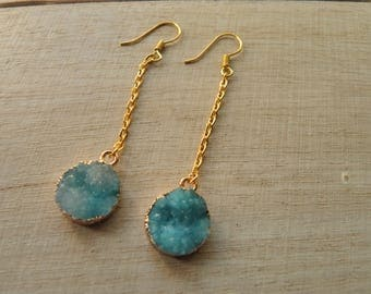 Earrings cabochon turquoise granite and gold metal