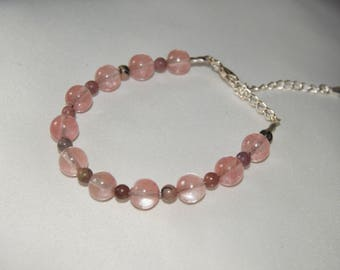 Bracelet in pink quartz and Tourmaline