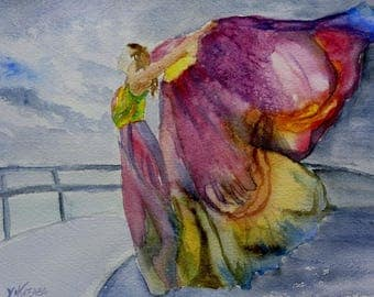 woman butterfly on a boat, watercolor.