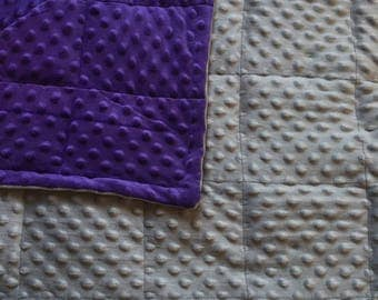 Twin size! And crib size! Gray/purple!! 35X50 and 40X60 weighted blanket.Choose size and weight! Color options.