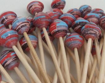 "Set of 10 ""Suzy"" handmade paper beads, unique designs."