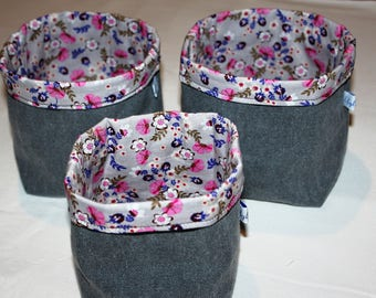 Set of 3 empty fully reversible cotton pockets
