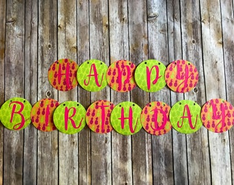 Happy Birthday Banner- Pink, Orange and Green Tropical Pineapples