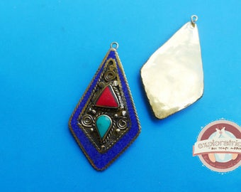 ethnic pendant tibet nepal 30x55mm bronze and stone blue turquoise Red