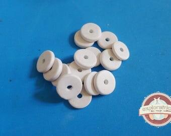 20 ethnic washers 2x13mm white ceramic beads
