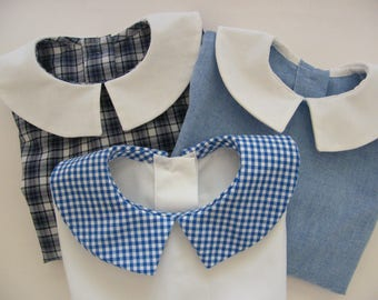 Boy chambray gingham Poplin Blouse Shirt Blue King (of your choice) 3/6/12/18 months