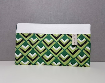 """Checkbook faux leather and fabric """"graphics"""" with 2 compartments for cards"""