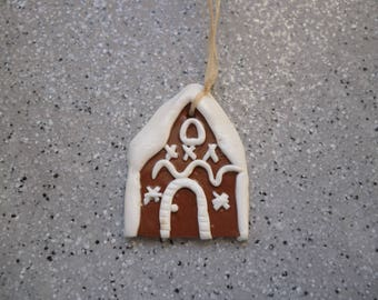 1 House for Christmas tree to hang or paste Fimo