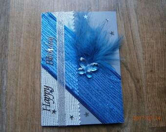 """Birthday card """"happy birthday"""", Silver Blue"""