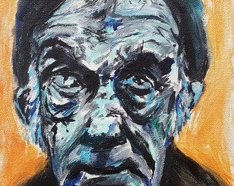 Cataracts -- Acrylic Portrait of Homeless Man