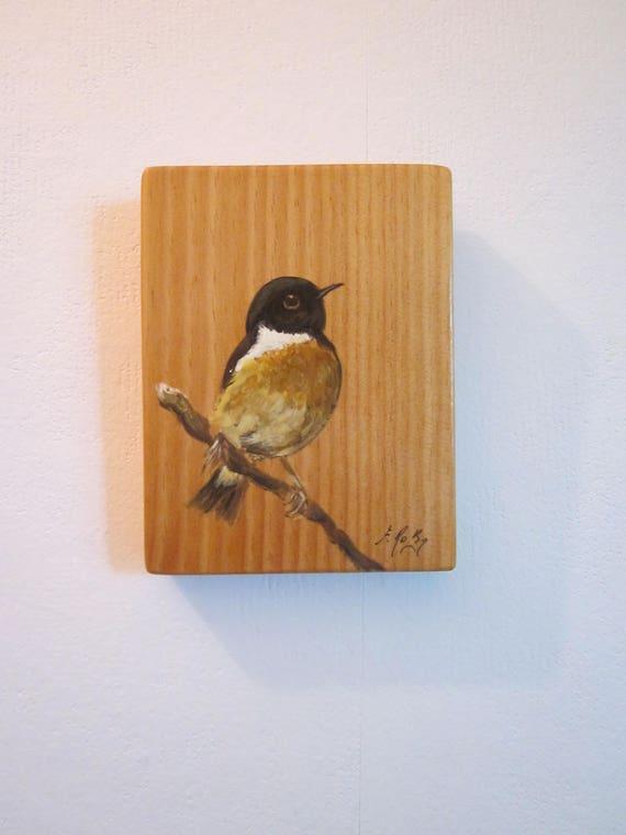 Cadeau de no l traquet p tre tableau sur bois peinture for Peinture sur bois verni