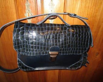 Navy Blue crocodile leather satchel