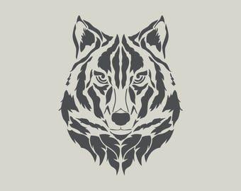 Wolf stencil. Wolf head.  (Ref 578) adhesive vinyl stencil