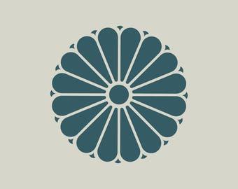 Flower stencil. Floral stencil. Katagami (ref 448)