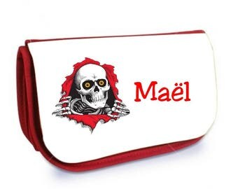 Red makeup case /crayons skull personalized with name