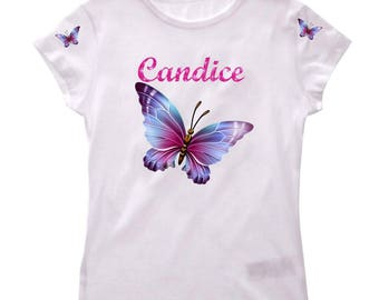 Girl Butterfly personalized with name t-shirt