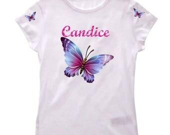 Tee shirt fille Papillon personnalisé avec prénom