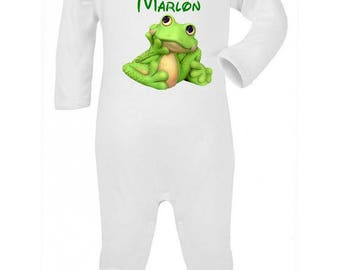 Pajamas baby frog personalized with name