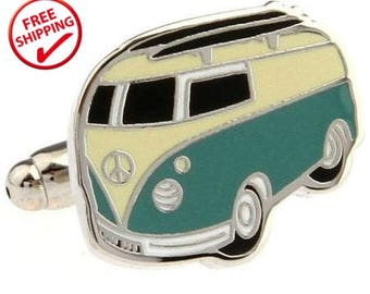 VW Kombi Cuff Links | Hippie Cuff Links | VW Bus Cuff Links |