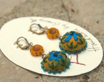 Earrings embroidered felted wool and glass beads - blue flowers (No. 11)