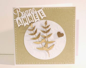 card greeting, new year, sober, white, kraft and gold.