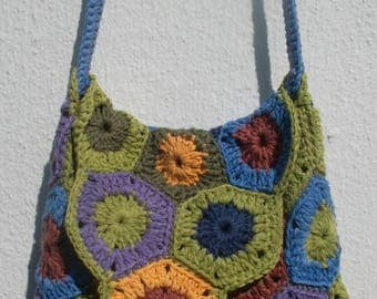 Small multicolor crochet shoulder bag