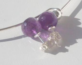 Amethyst briolette 10 mm Stud Earrings