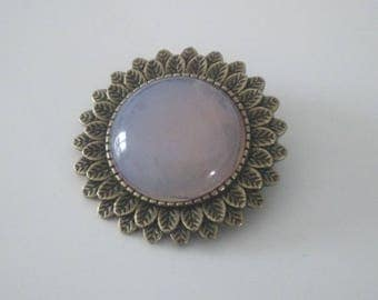 """Bronze brooch: """"Sunflower in the heart of the Brazil agate"""""""