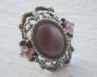 Ring: Indian Agate and rhinestones - purple version