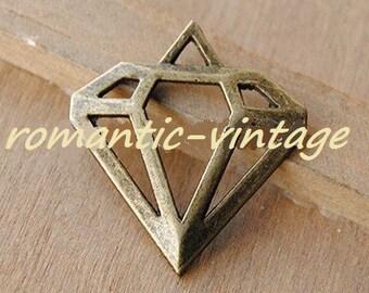 "3 pendants shape ""diamond"" triangle bronze 30 * 28mm approx"