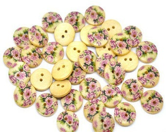 10 vintage pink flowers 15mm wooden style buttons