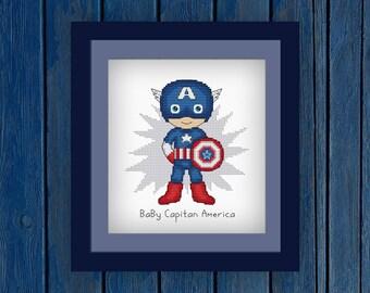 Baby Capitan America Cross Stitch Pattern   Comics Cross Stitch   Movie Xstitch   Capitan America Cross Stitch