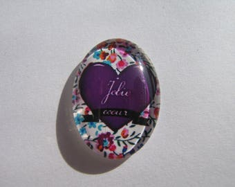 Glass cabochon oval with its pretty liberty heart picture
