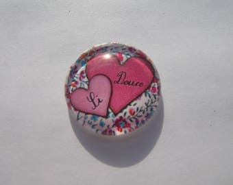 Liberty heart 25 mm round domed cabochon