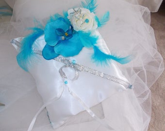 d turquoise and white Orchid ring bearer pillow