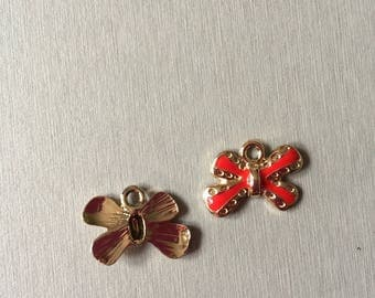 BOW: Red/pink enamel