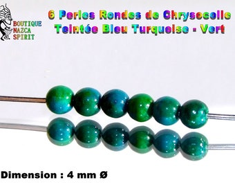 Round beads 4 mm stone Fine tinted Chrysocolla ∅ 18 turquoise - Green