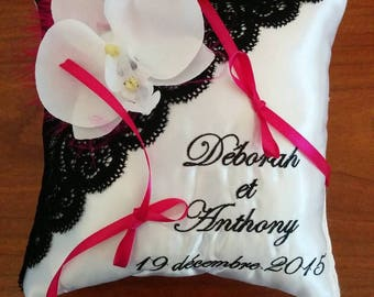 """black and white lace ring bearer pillow """"Calais"""" Orchid and fushia touch"""