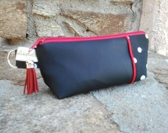 pouch make up simily leather and cotton