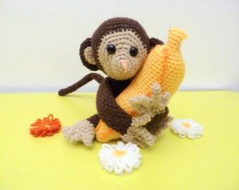 Little Monkey clutching his banana in his arms amigurumi, handmade