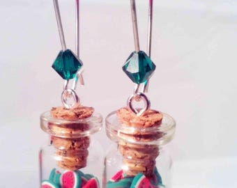 "Earrings ""Vial & watermelon"""
