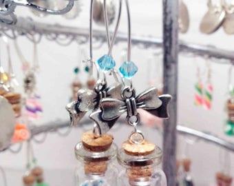 "Earrings ""Mini vial blue flowers"""