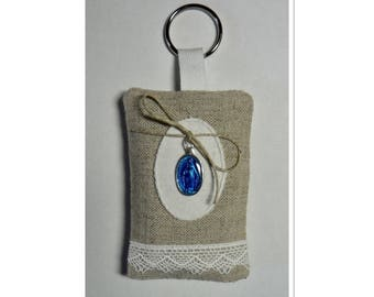 Lavender filled Keychain adorned with a blue miraculous medal