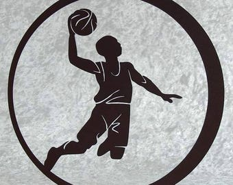 Woodcut basketball player